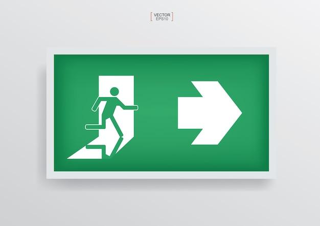 Green emergency fire exit door symbol