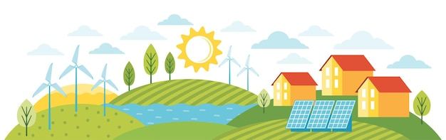 グリーンエネルギーは環境にやさしいモダンな家です。代替エネルギーを利用したエコシティ。エコロジカルインフラストラクチャ、ソーラーパネル、風車、風力タービンを備えた、環境に優しい現代の町の風景。