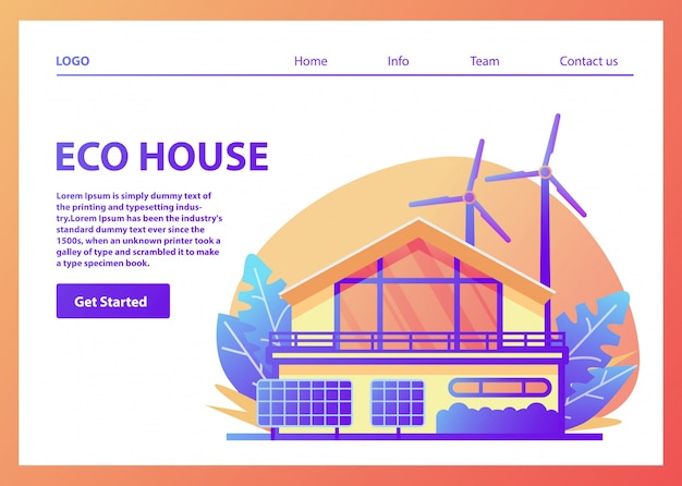 環境にやさしいアメリカ郊外のグリーンハウス、ソーラーパネル、風力タービン、家族の家のファサード、再生可能エネルギー。