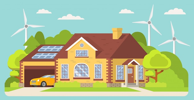 グリーンエネルギー、環境に優しい伝統的な郊外のアメリカの家。ソーラー、風力、ガレージ車のある家の正面。