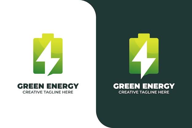 Green energy battery gradient logo