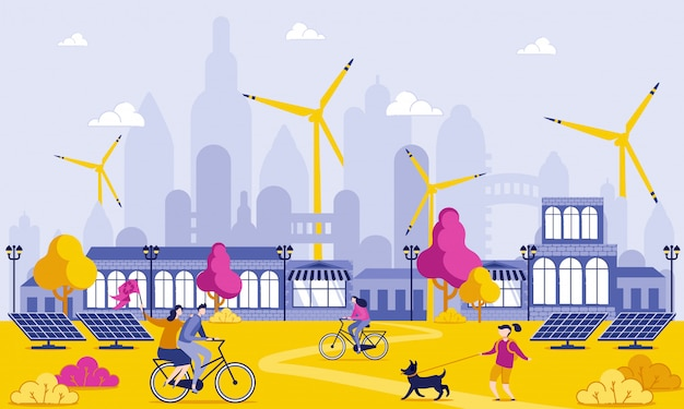 Green energy in big city cartoon illustration.