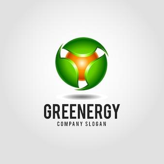 グリーンエネルギー - クリーンネイチャーエネルギーソリューションロゴテンプレート