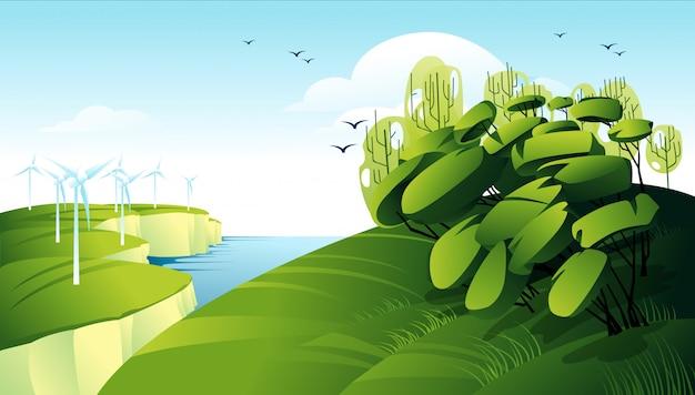 電気風車のあるグリーンエネルギーコンセプト風景
