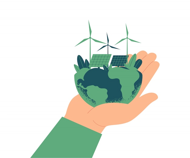 Green energy concept. solar panels and wind turbines on planet earth.human hand holds a green world.