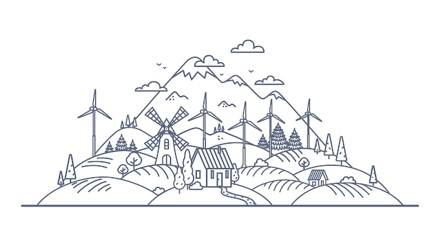 グリーンエネルギーの概念細い線の図