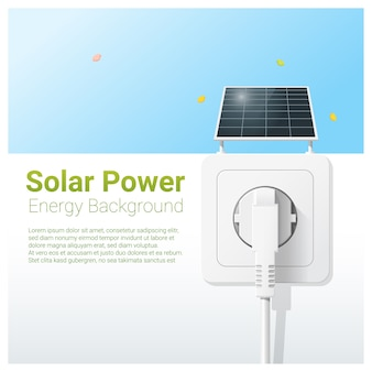 Green energy concept with solar panel and electric plug