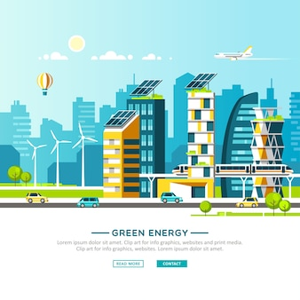 Green energy and eco friendly city urban landscape with modern houses and city transport