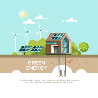 Green energy an eco friendly house - solar energy, wind energy, geothermal energy.