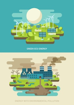 Green energy ecology and environment pollution concepts flat vector illustrations.