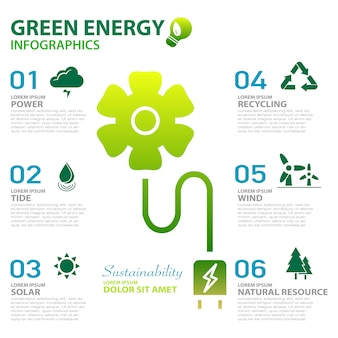 Green energy ecology power and sustainability concept infographics