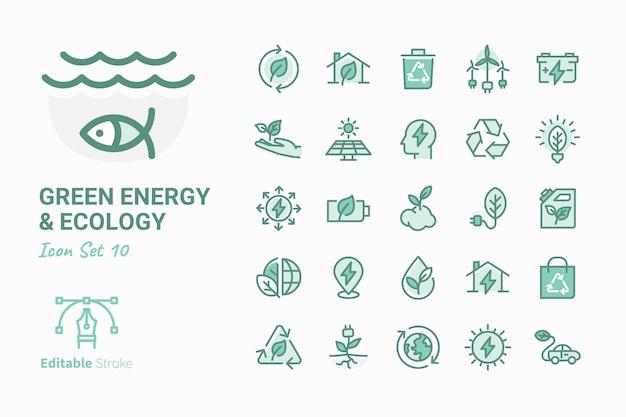 Зеленая энергия и экология коллекция векторных иконок