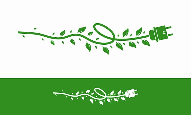 녹색 에너지 전기, 케이블 및 잎 벡터 일러스트와 함께 전기 플러그 아이콘 기호
