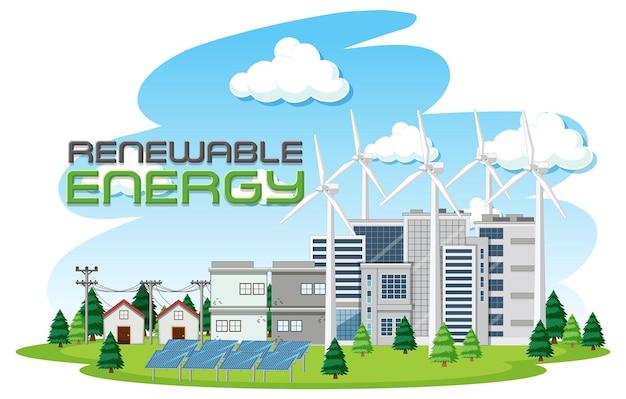 Зеленая энергия, генерируемая ветряными турбинами и солнечными батареями