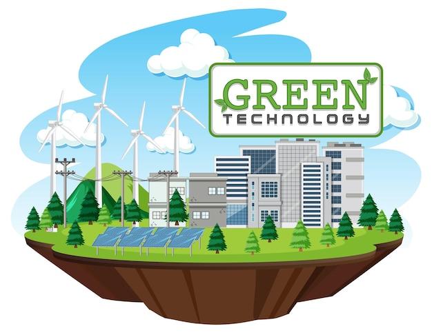 風力タービンとソーラーパネルによって生成されるグリーンエネルギー