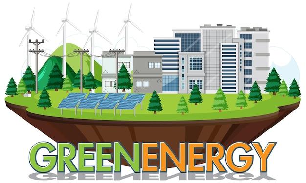 Energia verde generata da turbine eoliche e pannelli solari