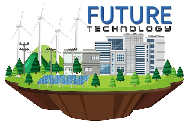 Green energy generated by wind turbine and solar panel