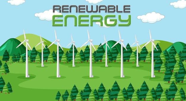 風力タービンによって生成されるグリーンエネルギー Premiumベクター