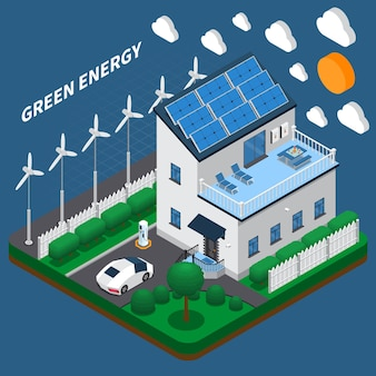 Green energy generation for household consumption isometric composition with roof solar panels and wind turbines
