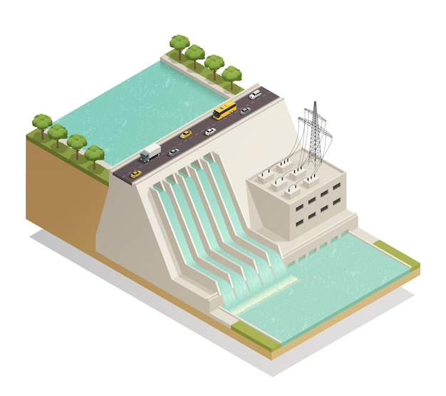 Green energy hydropower isometric composition
