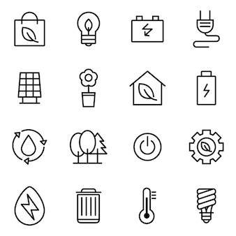 Green energy icon pack, outline icon style