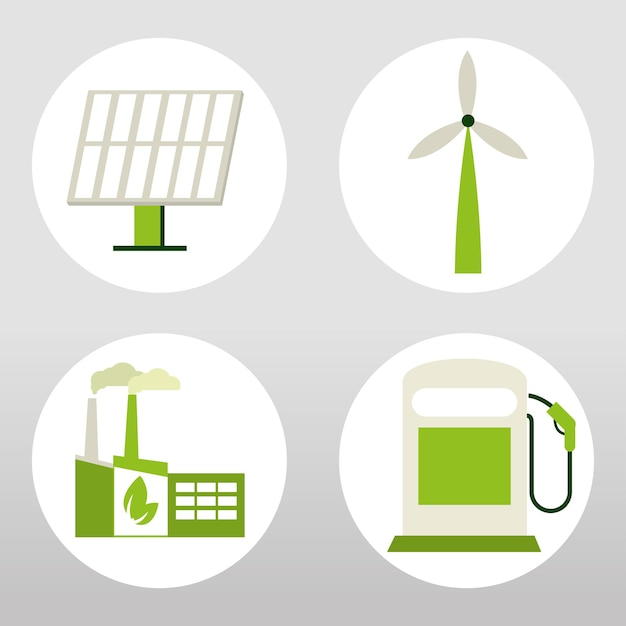 Набор иконок зеленой энергии