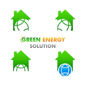 흰색 배경에 녹색 에너지 그림 재생 및 청정 에너지 그림 디자인 컨셉