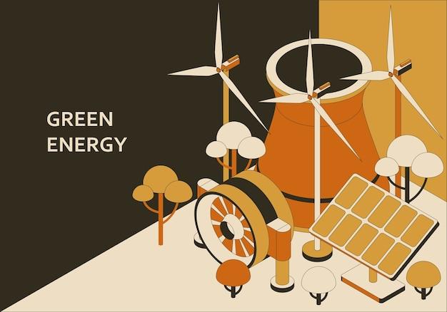 Изометрические концепция зеленой энергии. иллюстрация солнечной, ветровой, геотермальной и волновой энергии