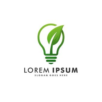 グリーンエネルギーのロゴデザイン。エコ電球アイコンシンボルイラスト