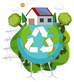 Green energy recycle logo