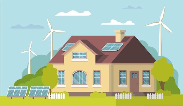 グリーンエネルギー再生可能エコハウス。太陽光、風力。代替電力は環境にやさしい。孤立