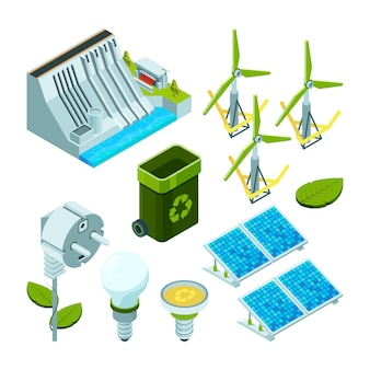 Green energy, saving factory power electric hydro turbines ecosystem various technology 3d isometric symbols