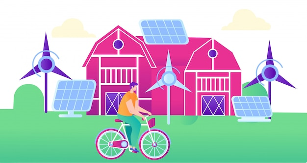 Green energy for smart farm flat illustration.