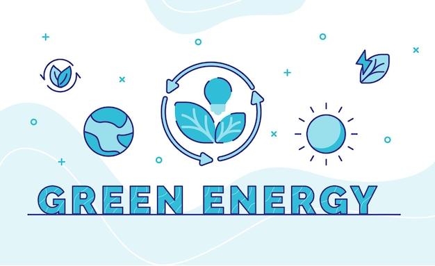 Зеленая энергия типографии каллиграфия слово искусство со стилем контура