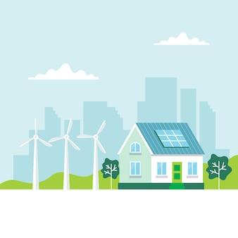 Green energy  with a house