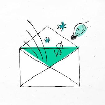 Зеленый конверт милый бизнес каракули значок
