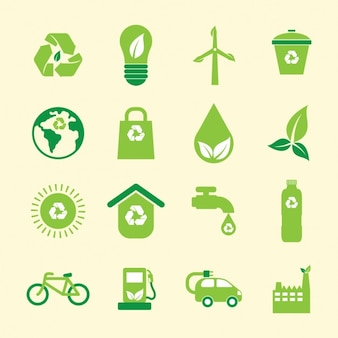 Green environmental icons collection