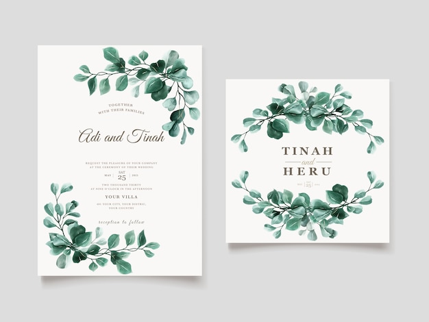 Green eucalyptus wedding invitation card template