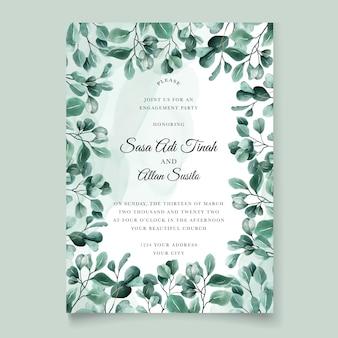 Зеленый эвкалипт свадебный пригласительный билет шаблон