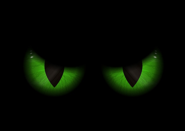 Green evil eyes background