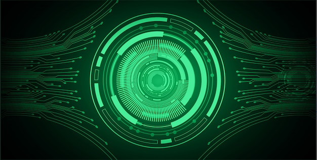 Green eye cyber circuit future technology background