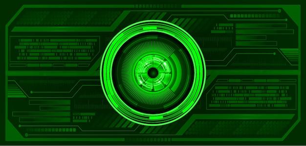 緑色の目サイバー回路未来技術コンセプトの背景