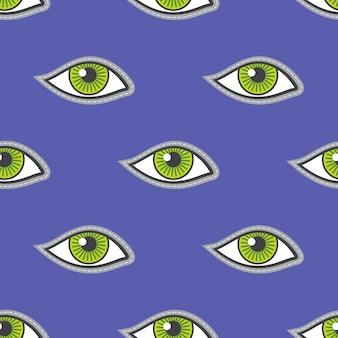 Зеленые глаза патч вектор бесшовные шаблон