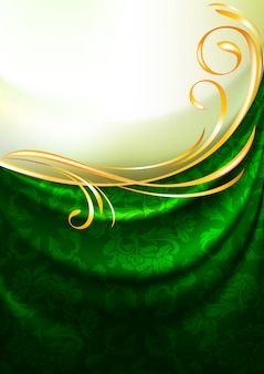 Green fabric drapes with ornament, background