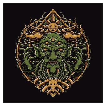 緑の顔のモンスター