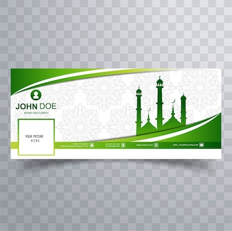 Green facebook cover with mosque