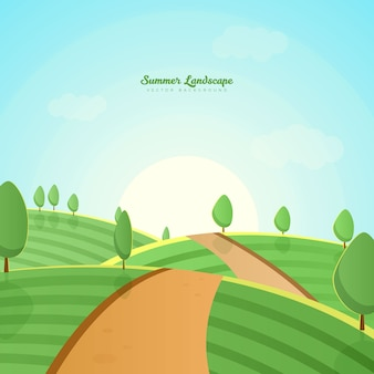 Green farm hills landscape background