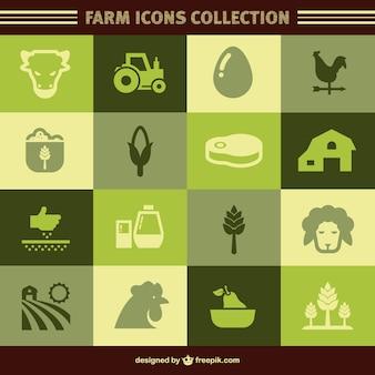 Green farm icons Premium Vector