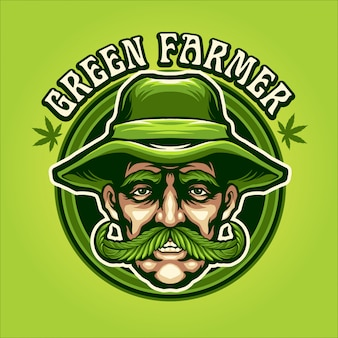 Green farmer illustration