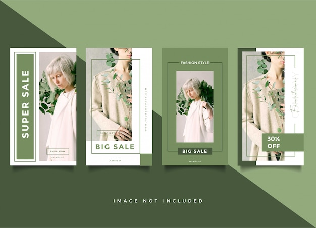 Green fashion banner stories template collection
